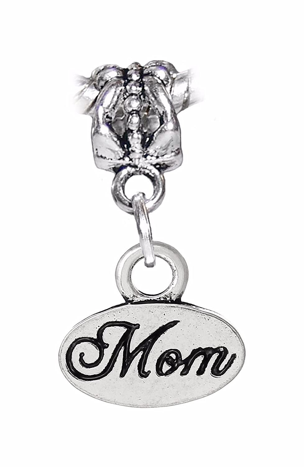 Mom Cursive Word Mother Small Oval Tag Dangle Charm for European Bead Bracelets