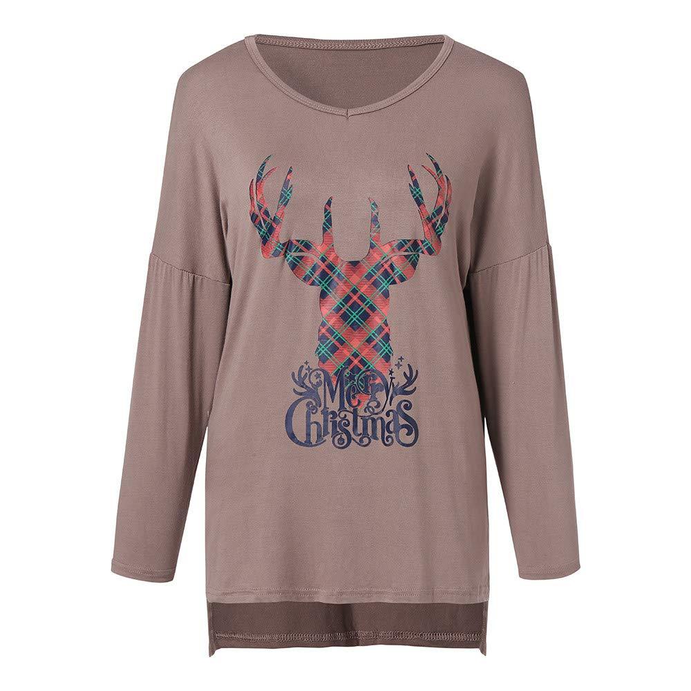 Women Long Sleeve T-Shirt,Christmas Elk Head Print Blouse Letter Crew Neck  Loose Tunic Fashion Tops Sweatshirt  Amazon.co.uk  Clothing 900f509cc