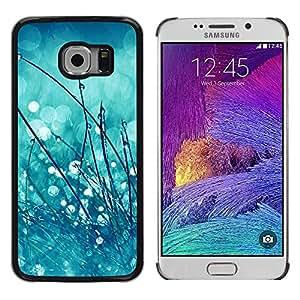 FlareStar Colour Printing Spring Dew Drops Rain Blurry Mint Green cáscara Funda Case Caso de plástico para Samsung Galaxy S6 EDGE / SM-G925 / SM-G925A / SM-G925T / SM-G925F / SM-G925I