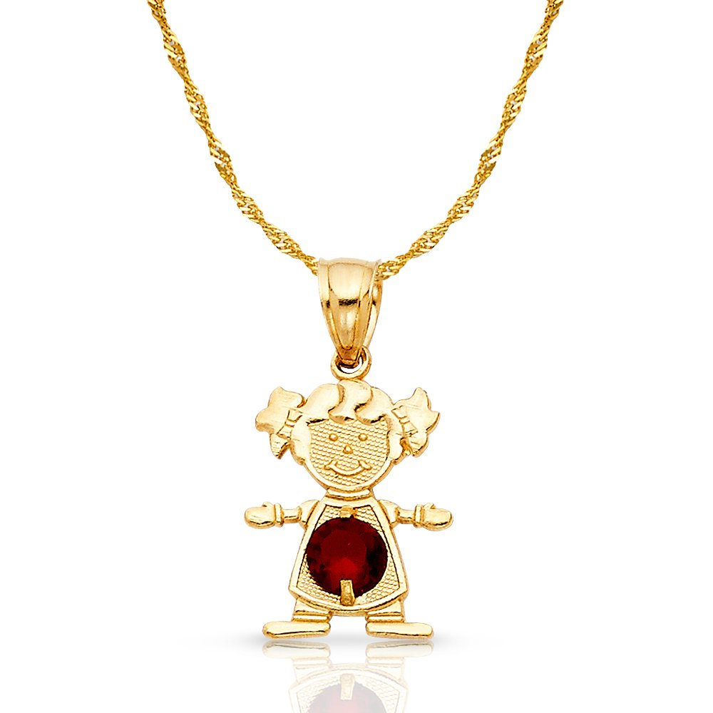 14K Yellow Gold January Birthstone Cubic Zirconia CZ Girl Charm Pendant with 0.9mm Singapore Chain Necklace