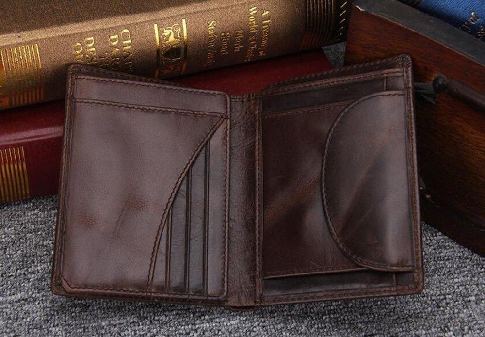 vertical style LIGYM Mens short wallet fashion embossed handbag. open