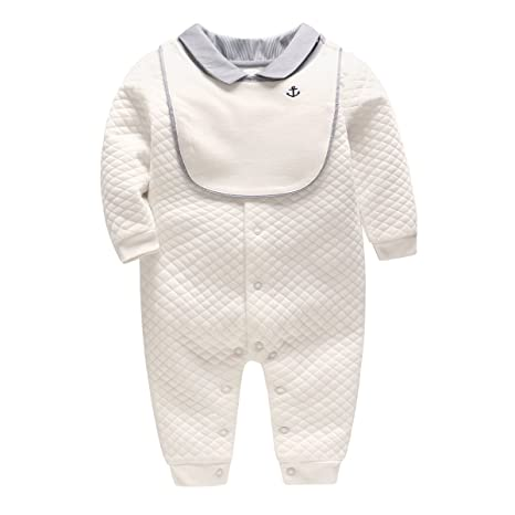 Vine Bebé Peleles Niños Mamelucos con Babero Algodón Pijama Sleepsuit Traje Formal, 12-18