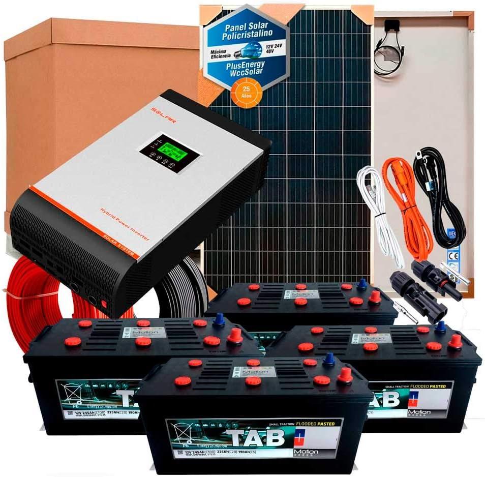 Kit Solar 24v 1000w/5000w día Inversor Multifunción 5kva Regulador MPPT 80A Batería Monoblock TAB 245Ah