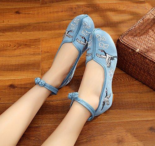 KHSKX-Schuhe Folk Kran Anstieg Mit Hohen Steigung Bestickt Schuhe Meine Schuhe blue