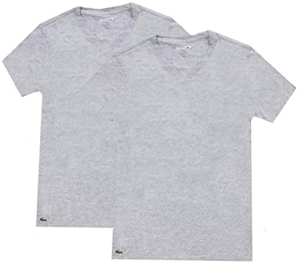 0fb7fef4 Lacoste Men's 2 Pack Slim V-Neck T-Shirt, Grey | Amazon.com