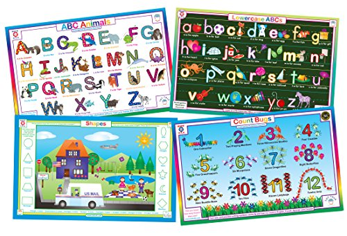 Double Sided Activity Mat - Educational Kids Placemats- Preschool Kindergarten- Set of 4 Table Mats: Uppercase ABCs, Alphabet, Numbers, Shapes- Reversible Activities- Waterproof, Washable, Wipeable, Durable, USA-made by Tot Talk