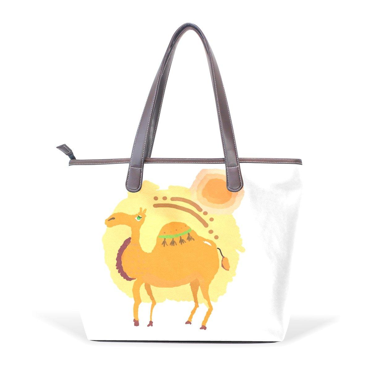 Ye Store Lovely Camel Lady PU Leather Handbag Tote Bag Shoulder Bag Shopping Bag