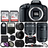 Canon EOS Rebel T7i Digital SLR Camera + EF-S 18-55mm IS STM Lens + EF-S 55-250mm IS STM Lens + Wide Angle Lens & 2x Telephoto Lens + 64GB Memory Card + Vivitar Card Holder + Wireless Remote + More