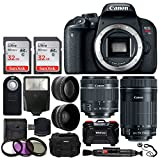 Canon EOS Rebel T7i Digital SLR Camera + EF-S 18-55mm is STM Lens + EF-S 55-250mm is STM Lens + Wide Angle & Telephoto Lens + 64GB Memory Card + Card Holder + Wireless Remote + Accessory Bundle For Sale