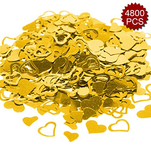 Aspire 4800PCS Heart Table Confetti Party Supply, Glitter Colorful Anniversary Wedding Decoration-Gold
