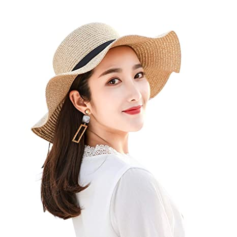 70227ea1030d3 Amazon.com  Teng Peng- Sun hat - 2019 Ladies Summer Hats with Bow New Brand  Straw Hats for Women Beach Sun Hats Floppy Sunhat Lady Outdoor Sun hat  (Color ...