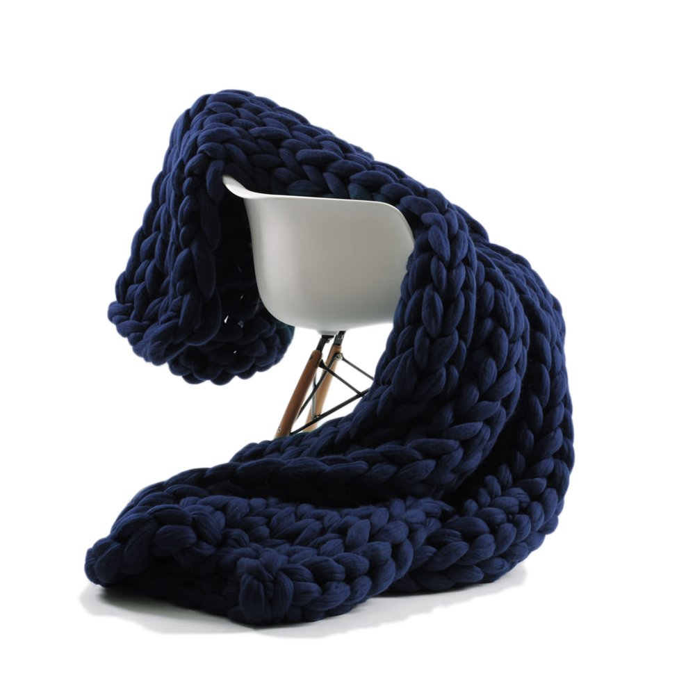 ACARPO Chunky Knit Blanket Handwoven Wool Yarn Knitting Throw Bed Sofa Super Warm Home Decor Navy 47''x71''