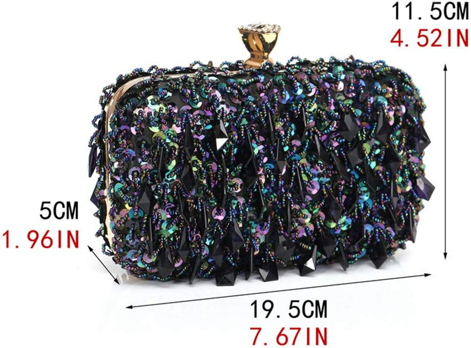 Jeenwicuoy Embroidery Beaded Women Clutches with Metal Plastic Lady Chain Shoulder Evening Bags for Party Purse