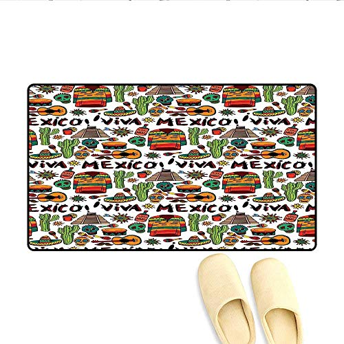 Doormat Viva Mexico with Native Elements Poncho Tequila with Salsa and Hot Peppers Image Bath Mat for Tub Multicolor 20