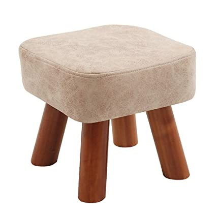 Amazon Com Solid Wood Footstool Small Wooden Bench Pu Upholstered