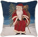 2016 Edition Williamsburg Antique Style Classic Traditional Handmade 100% Wool Needlepoint Decorative Seasonal Winter Holiday Santa Claus Christmas Gift Throw Pillow. 18'' x 18''.