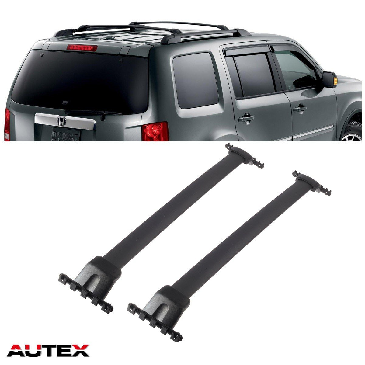 AUTEX 2Pcs/set Aluminum Roof Rack Crossbar for 2009-2015 Honda Pilot Rooftop Rail Rack Cross Bar