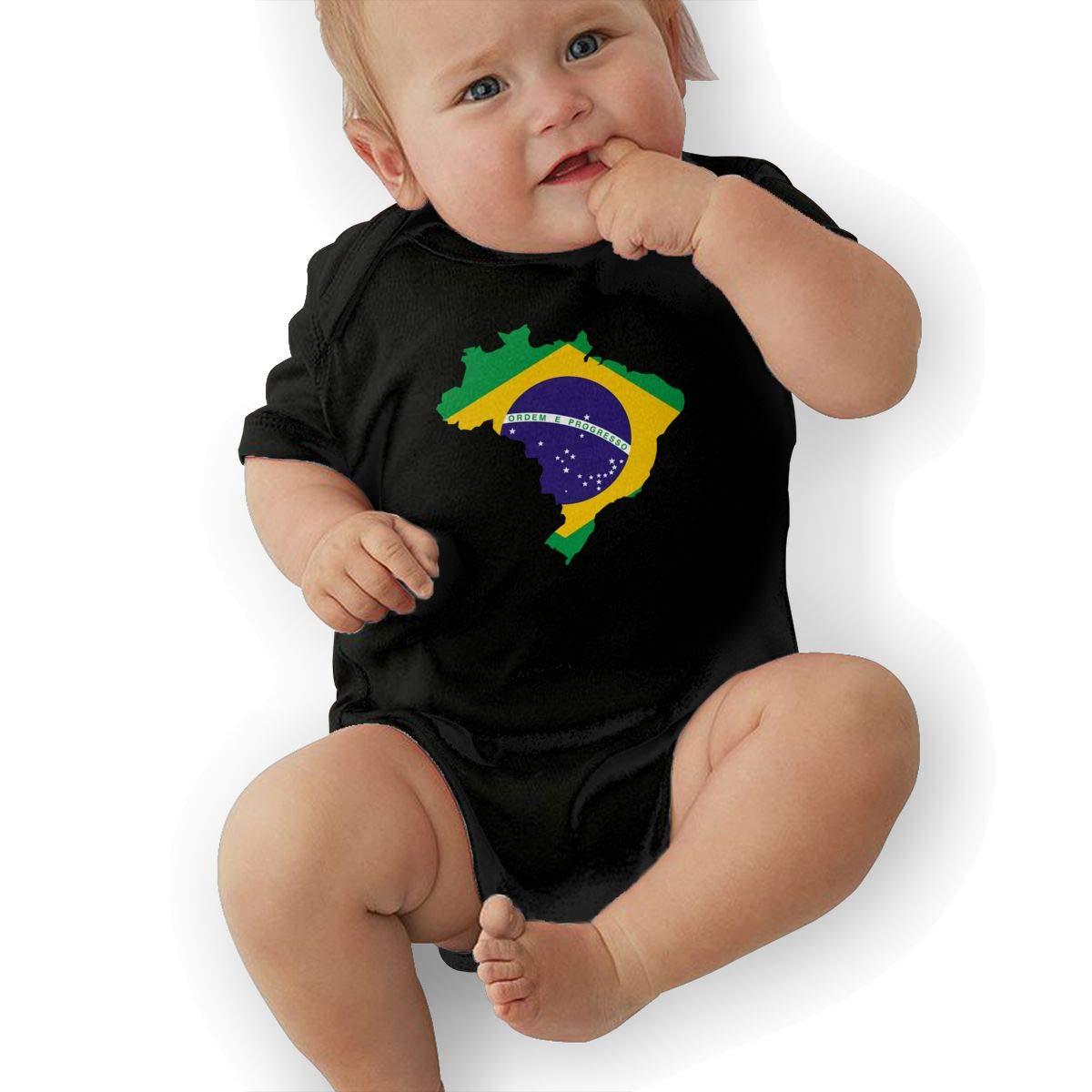 Cute Brazil Flag Map Onesies U88oi-8 Short Sleeve Cotton Bodysuit for Baby Boys and Girls