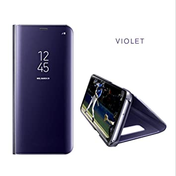 new concept af14c 7af4b DN-Alive Galaxy S9 Plus Case Cover [Book Case] [PURPLE] [Mirror Case]  [Wallet Case] [Flip Case] [Smart Case] [S9] Plus [Stand Case] [Full Body +  ...