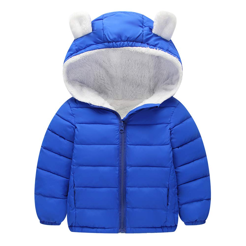 FTXJ Chlidren Boys Girl Winter Coats Jacket Kids ZipThick Ears Snow Hoodie Clothes