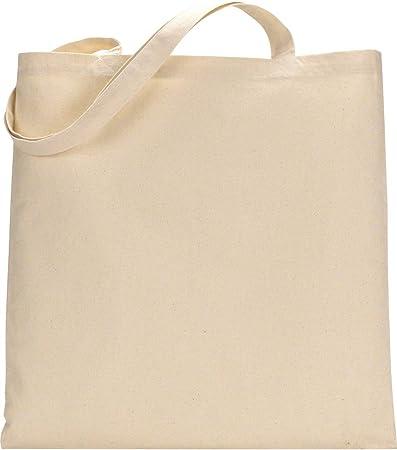Bolsa de la compra de algodón de primera calidad, respetuosa con el medio ambiente, reutilizable, con asas largas natural: Amazon.es: Juguetes y juegos