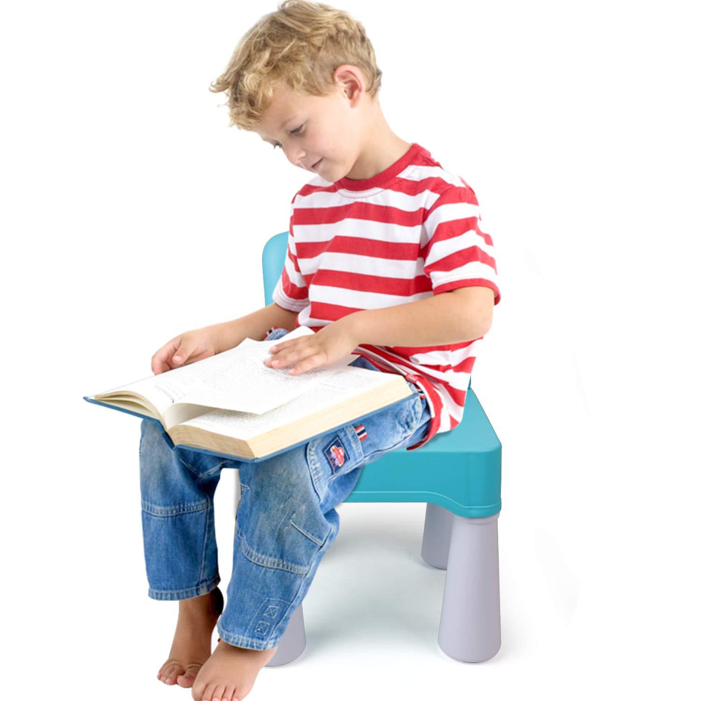 uso en interiores o exteriores azul claro duradera y liviana Silla de pl/ástico para ni/ños asiento de 9.65de altura