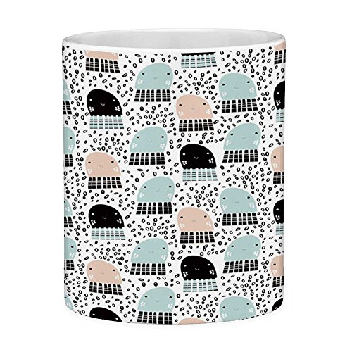 (Funny Coffee Mug with Quote Octopus 11 Ounces Funny Coffee Mug Cute Smiling Jellyfishes in the Sea Children Cartoon Pattern Dotted Ocean Mint Green Tan Black)