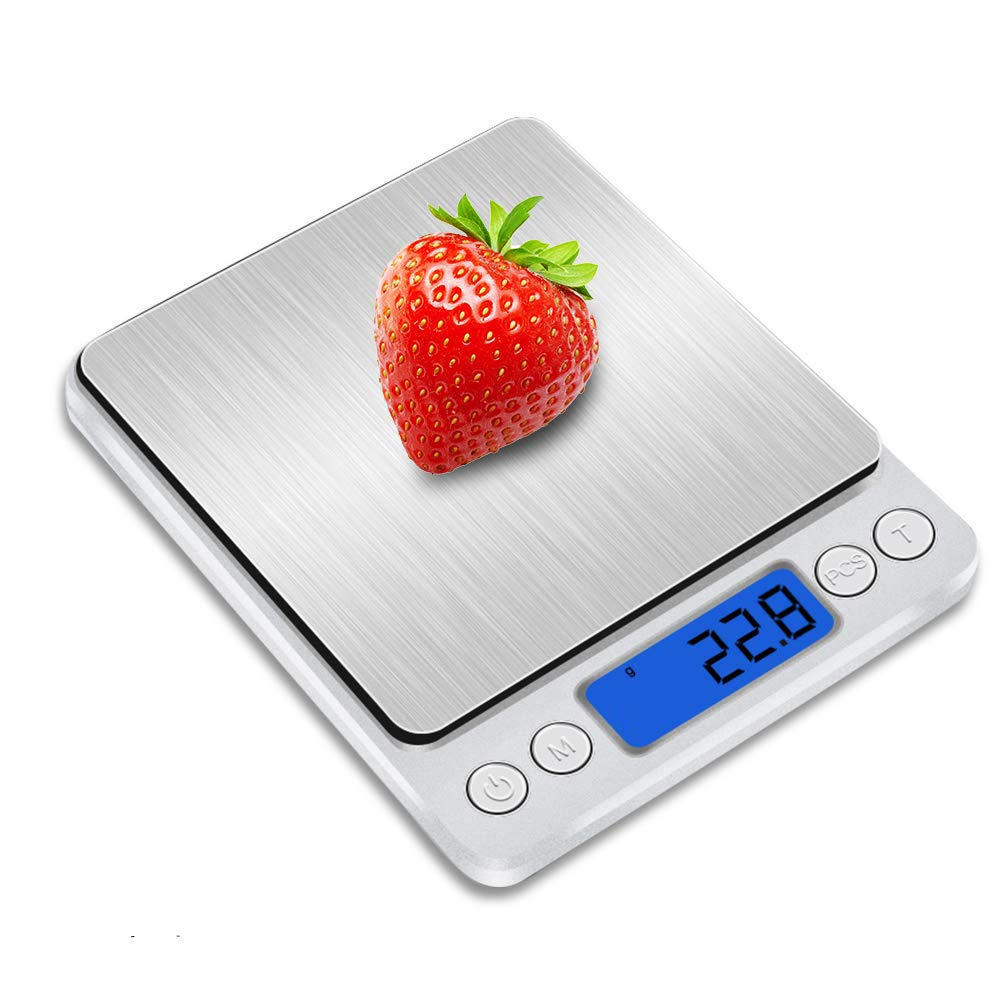 Food Scale, Digital Kitchen Scale, Multifunction Kitchen Scale 3kg/0.1g Precision Graduation, Kitchen Nutrition Calculator for Cooking Baking, Stainless Steel Christmas Gifts for Women