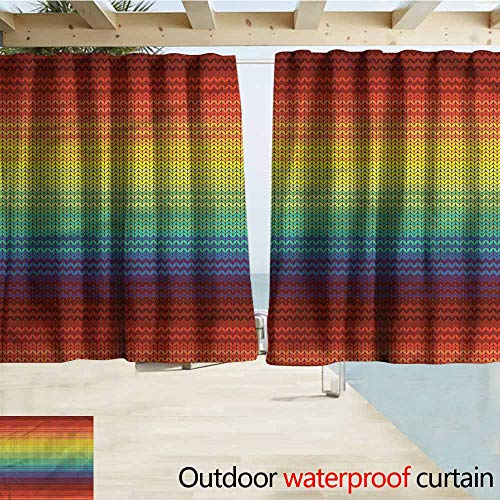 (Beihai1Sun Outdoor Waterproof Curtains Striped Mexican Knitting Pattern Rod Pocket Energy Efficient Thermal Insulated W72x45L Inches)