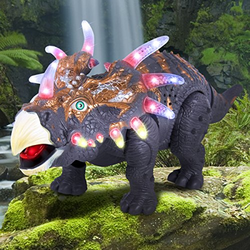 Best Choice Products Walking Dinosaur Triceratops Toy With Real Movement And Multicolor Lights   Sounds