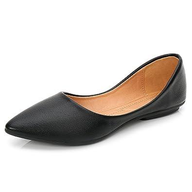 c57fa2b9c652 fereshte Women s Flat Ballerina Dolly Pumps Soft Work Shoes Black 36-3.5 UK