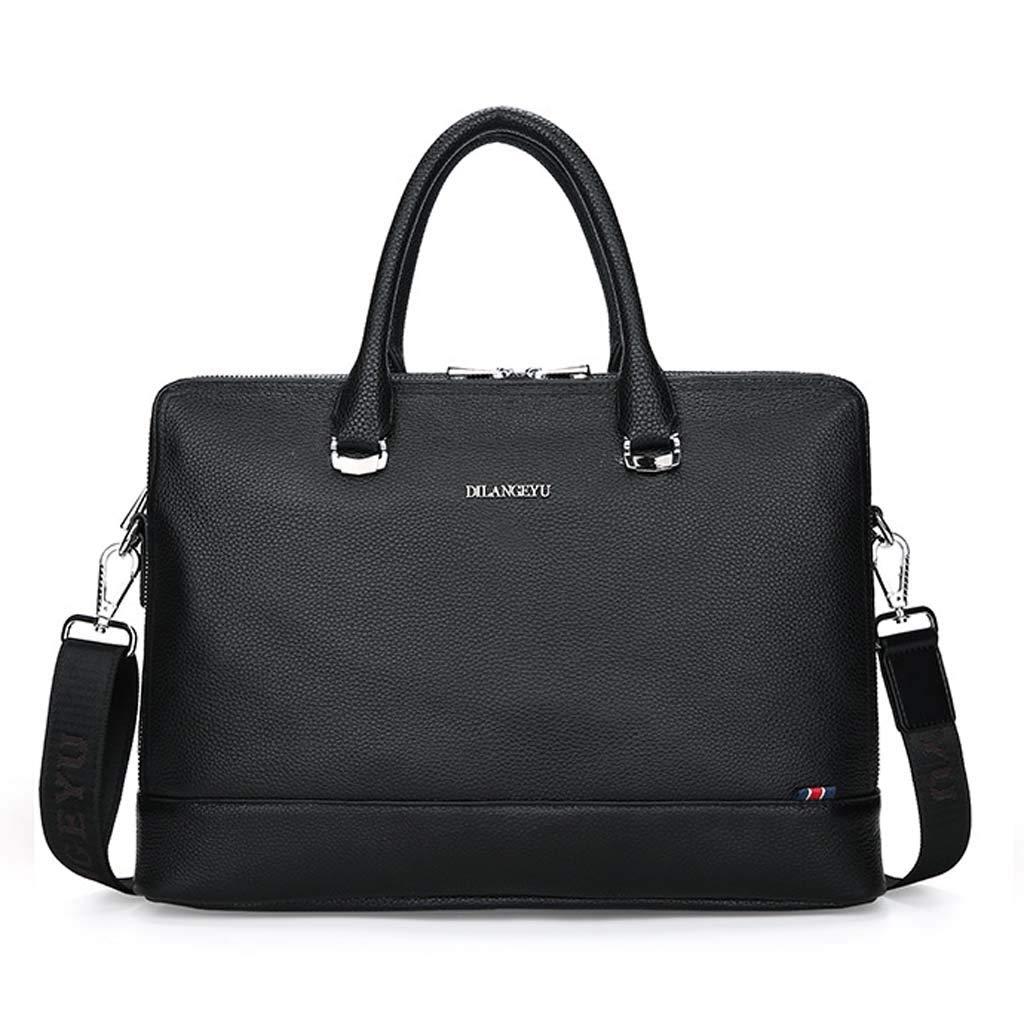 Cloud Mens Briefcase Business Casual Shoulder Portable Diagonal Computer Bag Color : Black, Size : 29cm