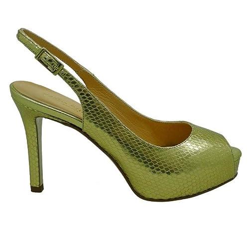 2628c0cf PEDRO MIRALLES Peep-Toe Dorado Tacón Stiletto 19425 Serpiente Metal:  Amazon.es: Zapatos y complementos