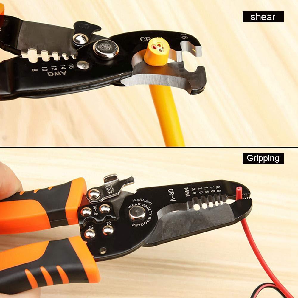 alicates cortadores autoajustables Volwco Herramienta de crimpadora de alambre trinquete de terminales herramienta de pelado de alambre