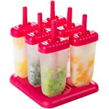 CHICHIC Popsicle Molds, Ice Pop Maker, Ice Pop Molds, BPA-Free, Repeated Use, Set of 6, Pink