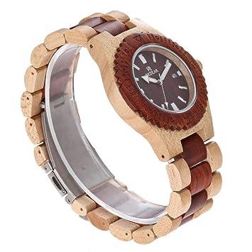 Reloj de Madera clásico, diseño de Fantasma de Agua - Reloj de Cuarzo de sándalo - Personalidad Masculina Retro: Amazon.es: Hogar