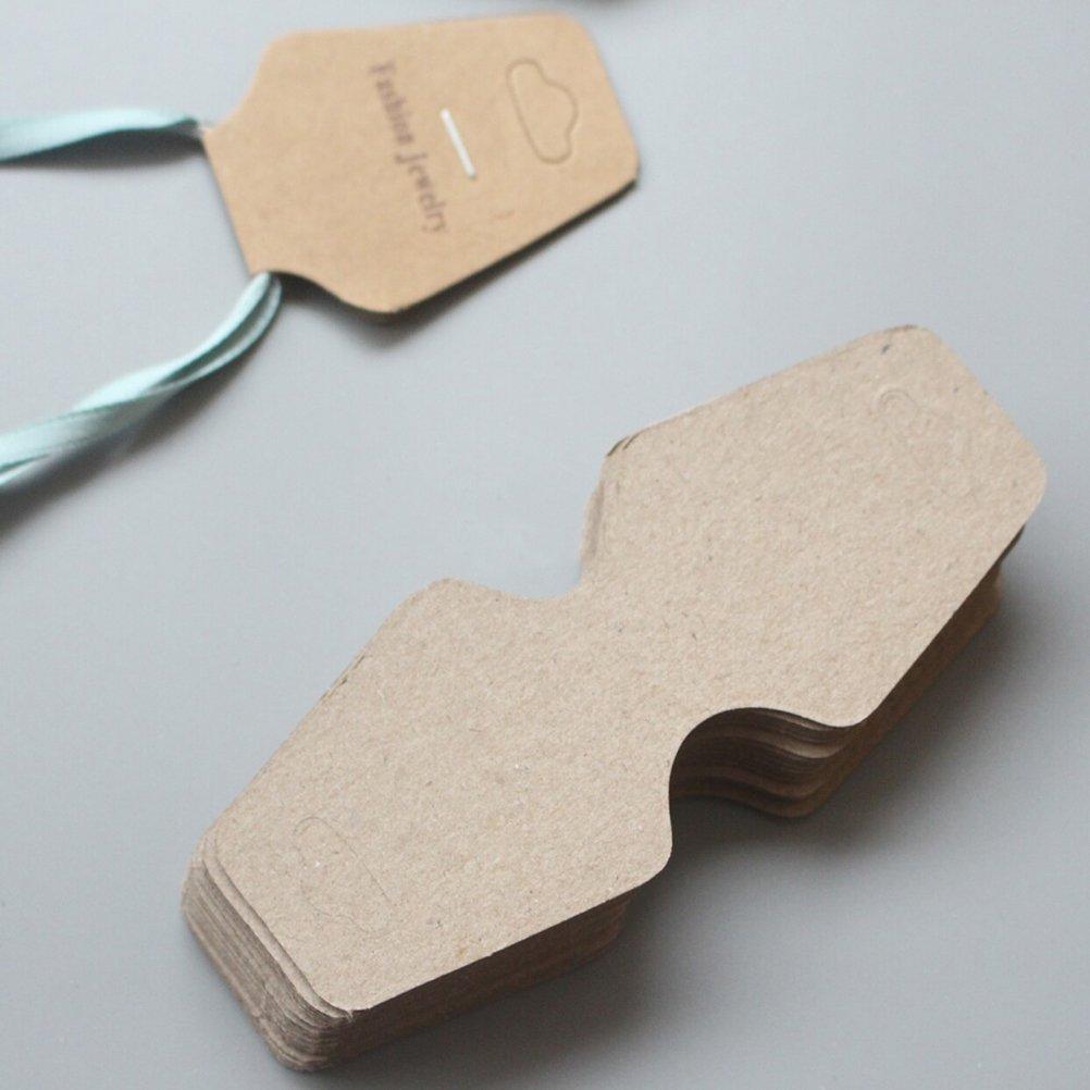 per matrimoni imballaggio OUNONA 100pcs Kraft Paper tag etichette per gioielli di carta
