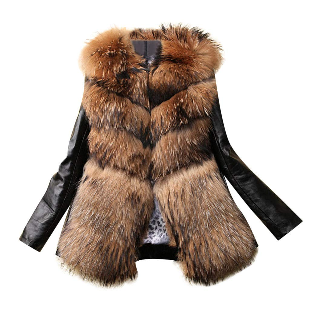 Wenini Women Trendy Faux Fur Leather Zipper Jacket Slim Biker Motorcycle Coat Punk Outwear by Wenini Women Coat