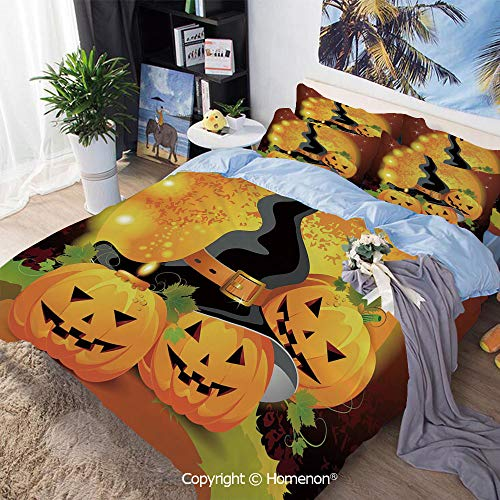 Homenon Three-Piece Bed,Witches Hat Spooky Pumpkins Magical Night Autumn Nature Full Moon,King Size,Hypoallergenic,Cool Breathable,Light Orange Green Black]()