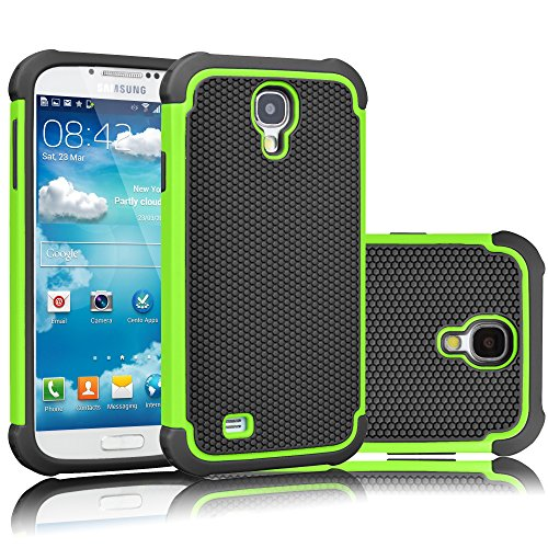 (Tekcoo for Galaxy S4 Case, [Tmajor Series] [Green/Black] Shock Absorbing Hybrid Rubber Plastic Impact Defender Rugged Slim Hard Case Cover Shell for Samsung Galaxy S4 S IV I9500 GS4 All Carriers)