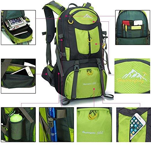 45L+5L Impermeable Mochila de Senderismo con Cubierta Lluvia, Paquete del Alpinismo Escalada Marcha Trekking Camping Deporte Al Aire Libre Unisex (púrpura) verde