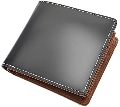 8c0c0572600c Amazon   ブラック F 大人 紳士 本革 馬革 コードバン レザー 二つ折り ...