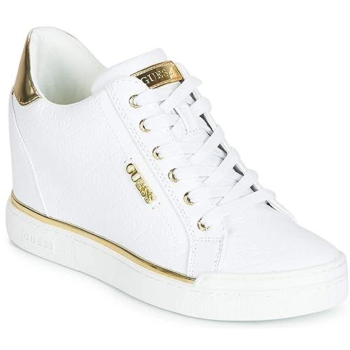 GUESS, FLOWURS White Zapatilla con cuña Blanco/Dorado para Mujer: Amazon.es: Zapatos y complementos