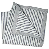WILD BABY Large Oversized Denim Baby Blanket 47' x 47' 100% Upcycled Woven Cotton for Boy Or Girl