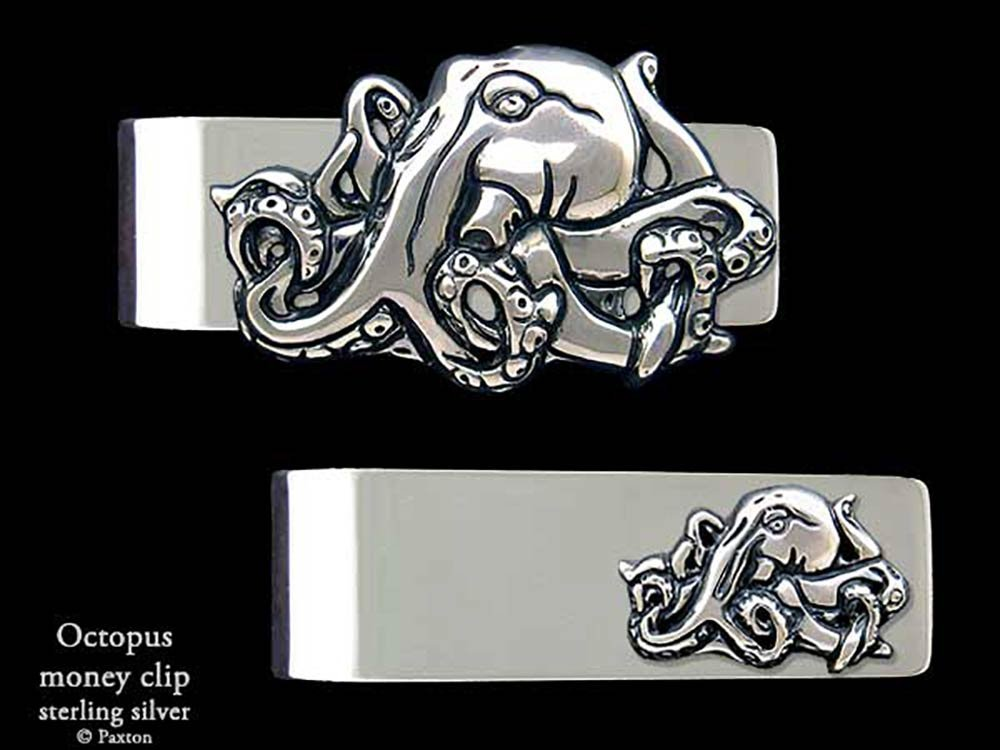 Octopus Money Clip in Solid Sterling Silver Hand Carved, Cast & Fabricated by Paxton
