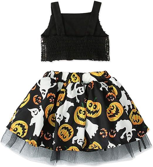 FBGood Vestido de niña con Lentejuelas y Falda de tutú Estampada con Calabaza, Negro, 100 cm: Amazon.es: Hogar