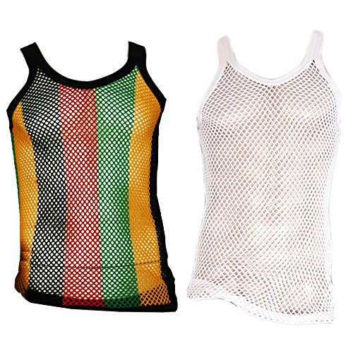 UD Accessories 100% Cotton Rasta String Vest Mesh Fishnet Fitted Striped (2 Pack - 1 Rasta, 1 White) - Large (Cotton Mesh Tank Top)