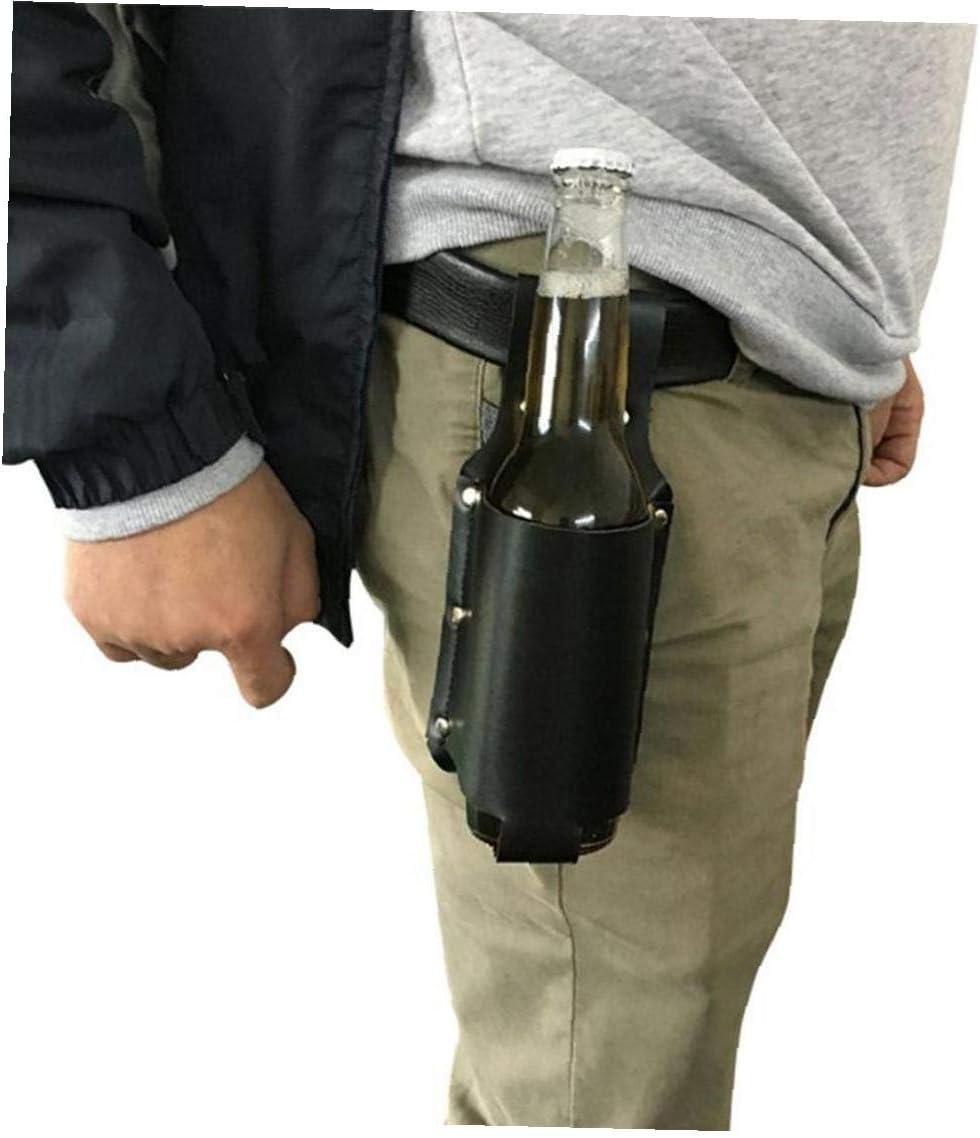 Amoyer Leder Bier Holster Klassische Bierflasche Holster Getr/änk Hip Flaschenhalter Im Freien Bier-schutzh/ülle