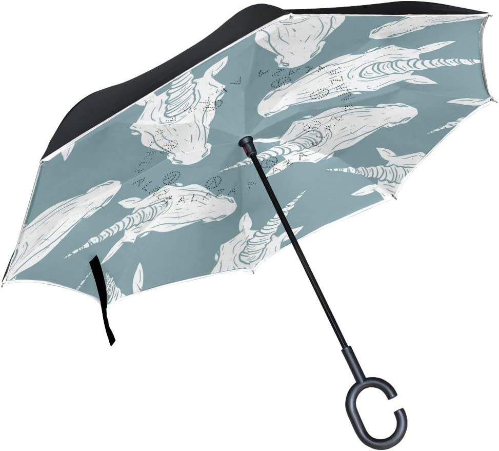ATONO Unicorn White Head Blue Watercolor Double Layer Inverted Reverse Folding Stick Umbrellas Windproof Anti-UV C-Shaped Handle for Car Rain Outdoor