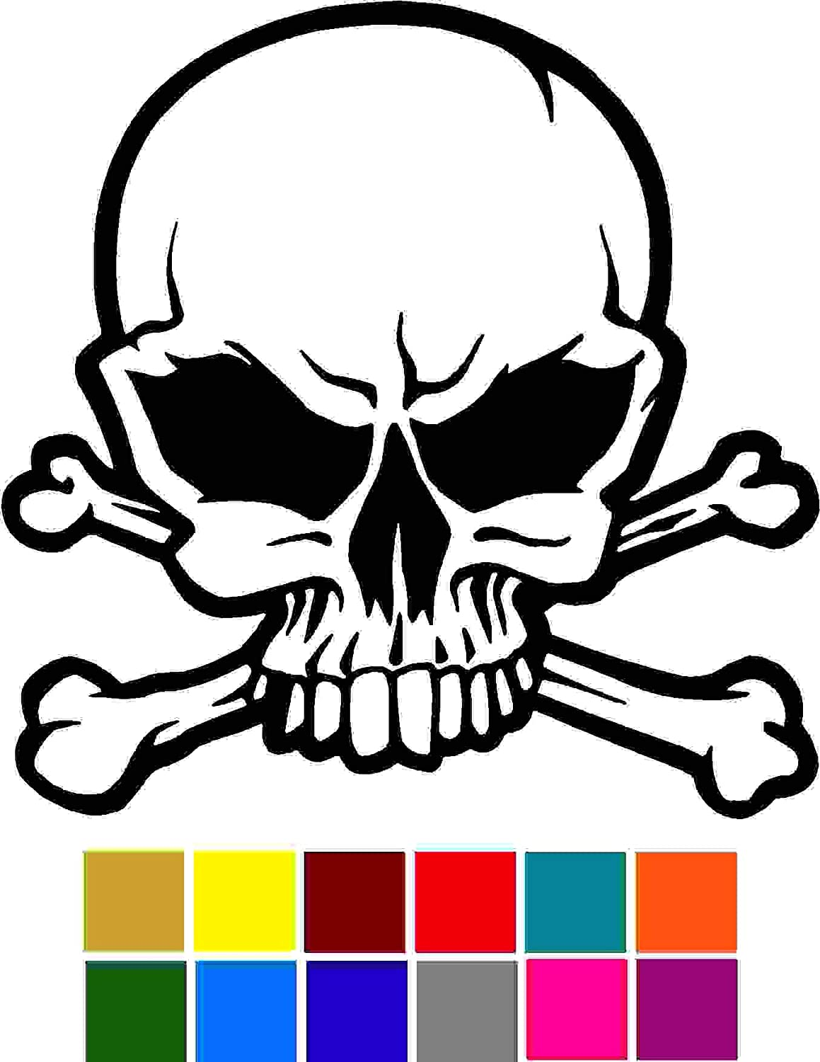 Skull Face With Crossbones Car Window Tumblers Wall Decal Sticker Vinyl Laptops Cellphones Phones Tablets Ipads Helmets Motorcycles Computer Towers V and T Gifts